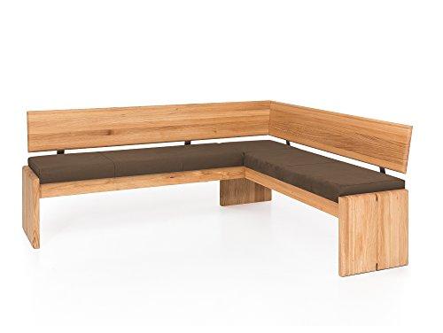 moebel-eins Scott Eckbank mit Truhe, Material Massivholz/Bezug Kunstleder, Kernbuche, 167 x 147 cm, Nougat