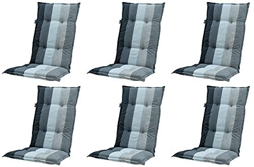Madison 6 x 8 cm Luxus Hochlehner Auflage C 404 Pete Grey, grau, anthrazit, schwarz gestreift, 120 x 50 x 8 cm