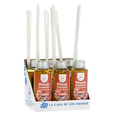 La Casa de los Aromas, Set de 6 x100ml Ambientadores Mikado Canela para Reposición con Varillas, Difusor Líquido de Aroma Canela, Perfume Duradero para el Hogar, Baño, Casa