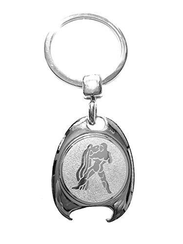 Sterrenbeeld waterman motief sleutelhanger, zilverkleurig, in elegante geschenkdoos met winkelwagenchip en flesopener | Cadeau | Mannen | Vrouwen | Sport | Chip | Boodschappenschip | opener