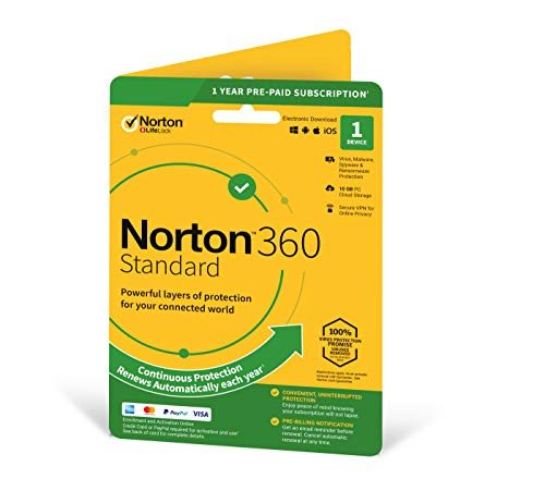 Norton 360 Standard 2021, Antivirus software for 1 Device and 1-year...