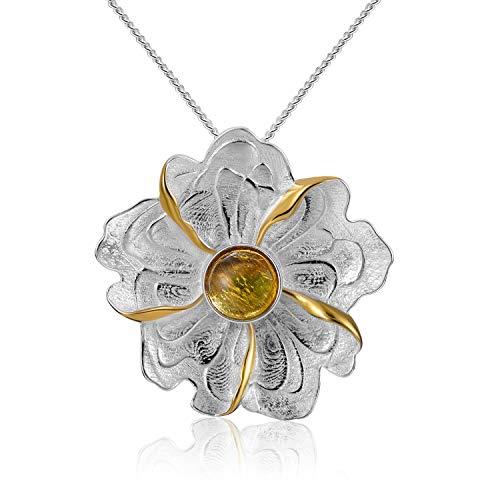Lotus Fun S925 Sterling Silber Anhänger Pfingstrosen-Blumen-Anhänger Natürlicher Turmalin Kreativ Beliebt Handgemachter Einzigartiger Schmuck für Frauen und Mädchen (Yellow)