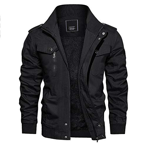 CRYSULLY Mens Winter Zip-Front Stylish Bomber Jacket Thermal Fleece Military Field Jacket Black