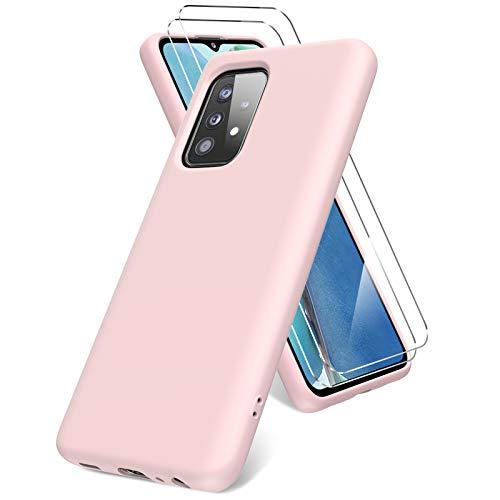 Vansdon Cover per Samsung Galaxy A52 5G/4G, 2 Pellicola Protettiva in Vetro Temperato, Gomma Gel di Silicone Liquida Antiurto Custodia - Rosa