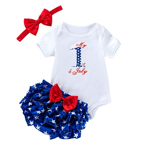 VEKDONE My 1st 4th of July Baby Girl Summer Clothes Short Sleeve T-Shirts Romper + Bow Ruffle Short + Hair Band 3PCS Outfits(White,6-12 Months)
