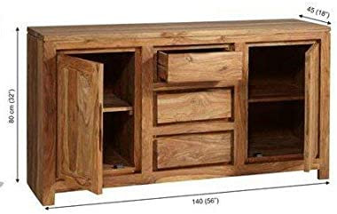 BL Wood Furniture Sheesham Wood Two Door Sideboard Cabinet for Living Room   with 3 Drawer   Teak Finish