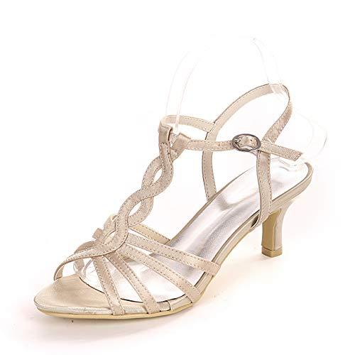QXue - Zapatos de boda para mujer, satinados, con puntera abierta, color...