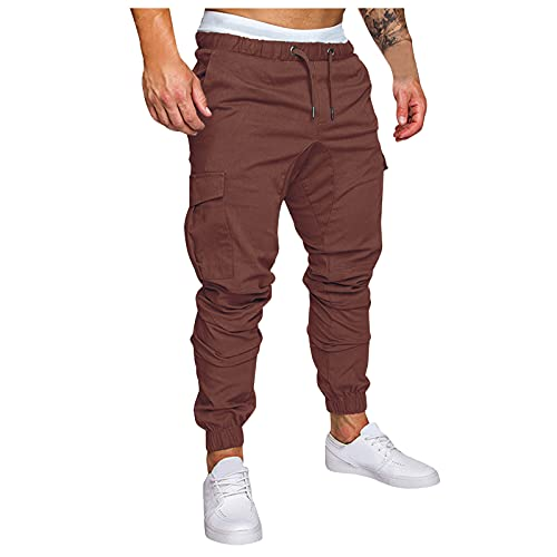 Pantalones de Hombre Pantalones casuales y leggings multibolsillos con herramientas de color liso para hombre pantalones Transpirable Fitness Chandal Loose and Comfortable Leisure Casual Pants