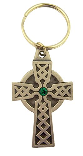 Pewter Celtic High Cross Medal with Green Accent Key Chain, 2 1/4 Inch