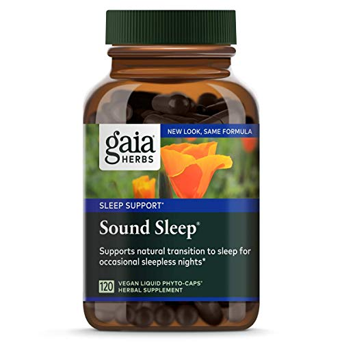 Gaia Herbs, Sound Sleep, Sleep Support, Non Habit Forming Herbal Sleep Aid, Kava Kava Root, Passionflower, Skullcap, California Poppy, Organic, Melatonin Free, Vegan Liquid Capsules, 120 Count