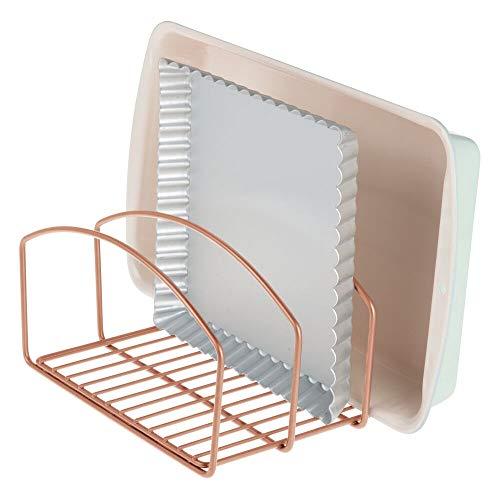 mDesign Geschirrablage für Kochtöpfe, Deckel und Pfannen – kompakter Topfdeckelhalter mit 3 Fächern für den Küchenschrank – platzsparender Ständer für Kochgeschirr aus Metall – bronzefarben