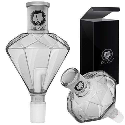 DILAW® Shisha Diamant Molassefänger Totenkopf (aus Glas für (Schliff 18/8) - Wasserpfeife, Vorkühler-Aufsatz Skull Wasserpfeife (Diamant)