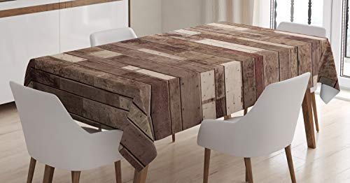 Ambesonne Wooden Tablecloth, Wall Floor Textured Planks Panels Picture Art Print Grain Cottage Lodge Hardwood Pattern, Dining Room Kitchen Rectangular Table Cover, 52