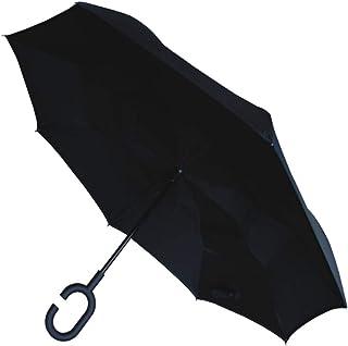Paraguas Invertido - A Prueba DE Viento - Muy Fuerte - Estructura Reforzada con Fibra de Vidrio - Adentro hacia Afuera Inverso - Doble Capa - Negro