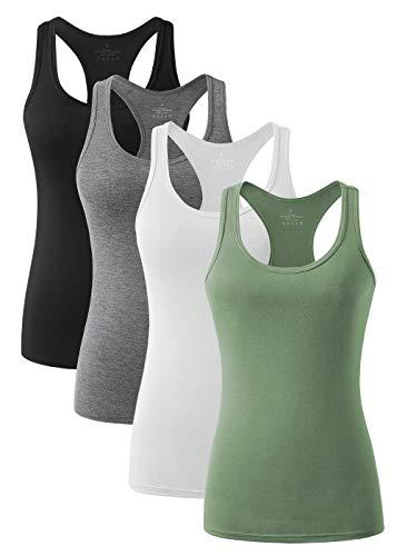 vislivin Workout Tanktops für Damen Racerback Yoga Tanks Basic Sportliche Activewear-4er Pack Schwarz/Dunkelgrau/Weiß/Armeegrün M