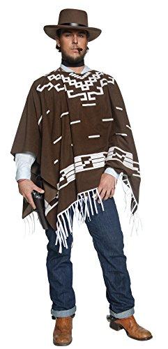 Authentische Western Kollektion Umherstreifender Räuber Kostüm mit Poncho Weste mit Hemdattrappe und Halstuch, Large