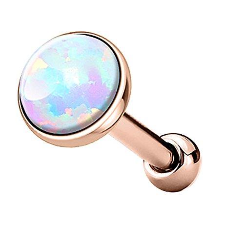 Piercingfaktor Tragus Piercing Helixpiercing Helix Ohr Cartilage Knorpel Stecker mit flachen Opal Steinen Rund Rosegold Weiß 3mm
