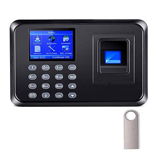 Aktivstar Máquina Fichar de Asistencia Biométrica de Huella Dactilar con Sistema Española Pantalla LCD Memoria de 8GB, con Capacidad de 1000 Huellas de fichar ✅