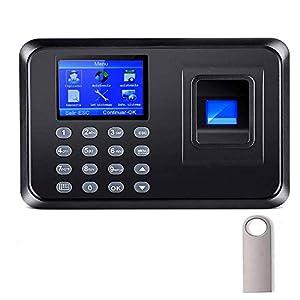 Aktivstar Máquina Fichar de Asistencia Biométrica de Huella Dactilar con Sistema Española Pantalla LCD Memoria de 8GB, con Capacidad de 1000 Huellas de fichar