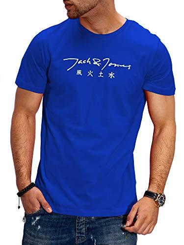 JACK & JONES Herren T-Shirt O-Neck Print Shirt Kurzarmshirt Short Sleeve Casual Streetwear (L, Surf The Web)