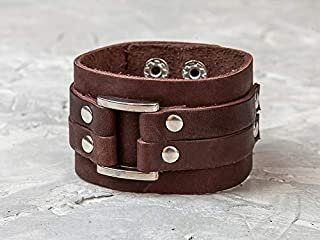 Leather Life 910, Square Leather Bracelet, Brown Wide Cuff, Men Wrist Bands, Birthday Gift Dad, Women Wristband Bangle, Boho Wrap Bracelet, Engrave 3120br