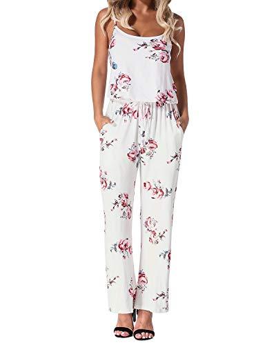 Auxo Mono Largo Mujer Verano Sin Mangas Estampado Floral Pantalones Largos Jumpsuits Playsuit Monos de Playa Blanco S