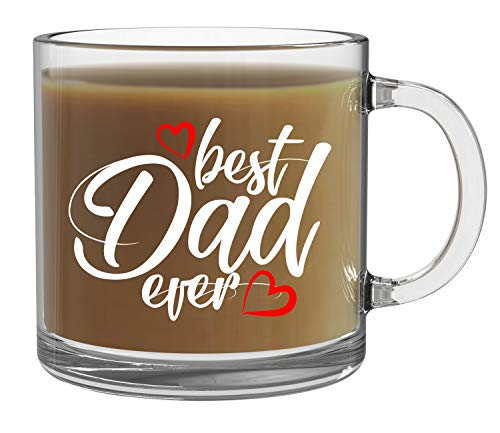 Best Dad Ever - 13oz Clear Glass Coffee Mug - Funny Fathers Gift Father's Day Gift Best Dad Ever Birthday Gift New Dad Gift Coffee Mug Tea Cup - By CBT Mugs
