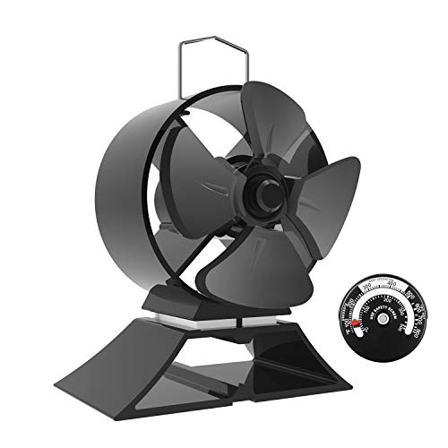 Mini Ofenventilator-4-Blatt Leiser Betrieb Wärme Betrieben Herd Ventilator für Holz/Holzofen/Kamin-Umweltfreundlich[Energieklasse A+++]