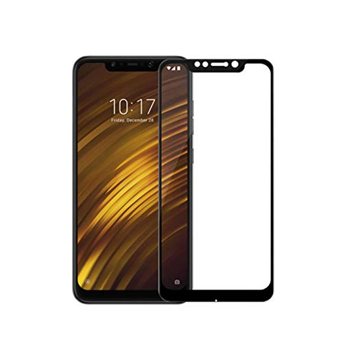 Vikimen Pellicola in Vetro temperato, Proteggi Schermo,2PCS Full Cover Glass Pocophone F1 Screen Protector Tempered Glass Pocophone F1 Protective Film Pocofone F1 Glass< Black