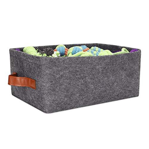 Grande boîte de rangement pour jouets de chien en feutre avec poignées, panier pour jouets pour animaux domestiques, manteaux, cordes, laisses, jouets interactifs à mâcher, couvertures et aliments