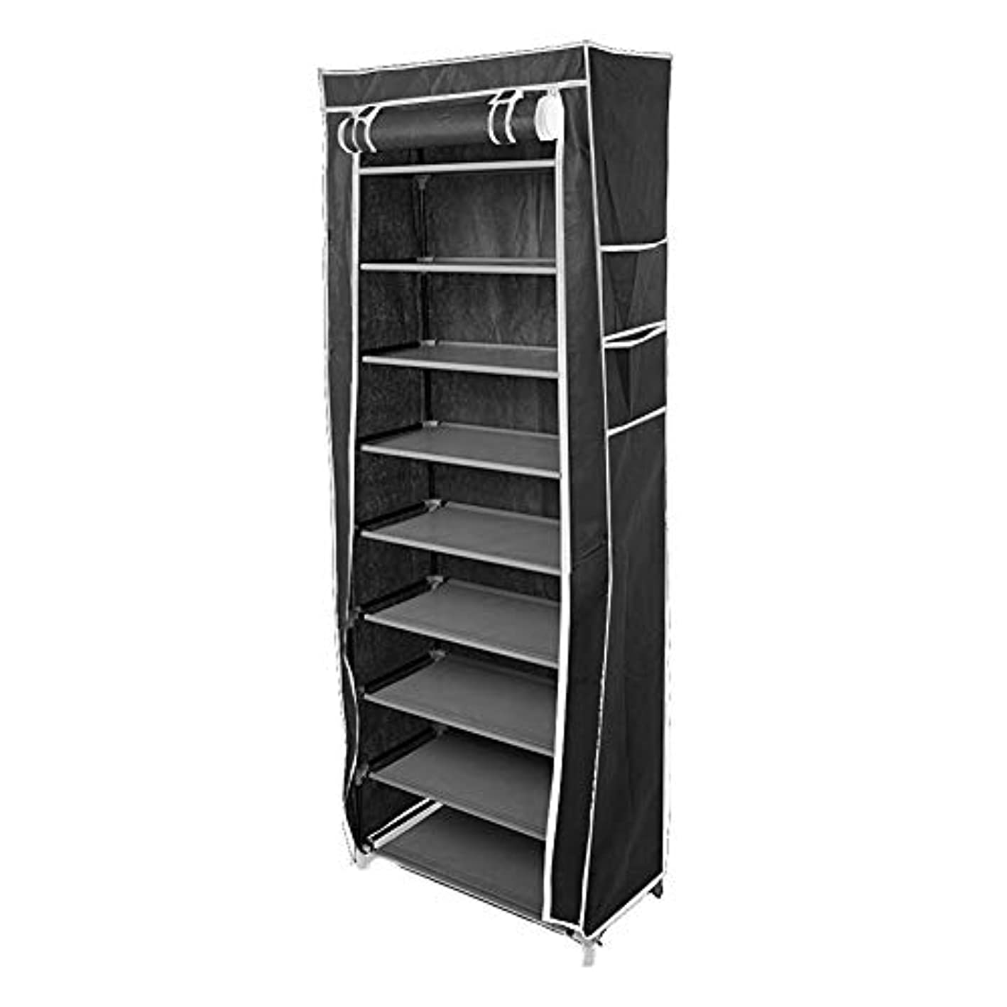 Blacgic 10 Layer 9 Grid Non-Woven Shoes Storage Rack Shoes Cabinet with Dustproof Cover Organizer Black