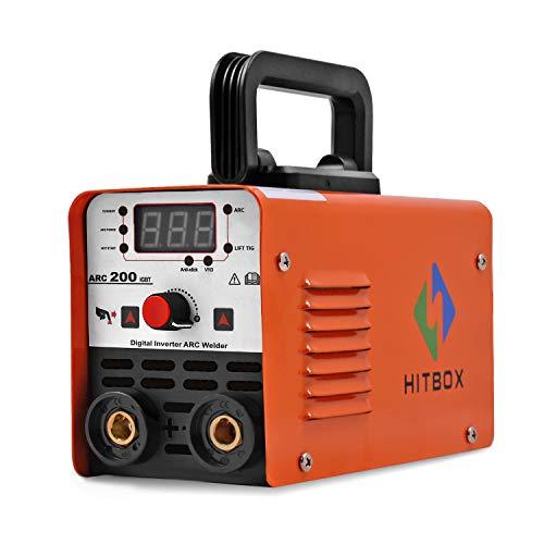 HITBOX Mini Soldador Inverter ARC 200A 220V, Soldador Inversor de Arco Digital Portátil IGBT MMA-200, Máquina de Soldadura TIG de 200 A, Ciclo de Trabajo 60%, Arranque por Calor
