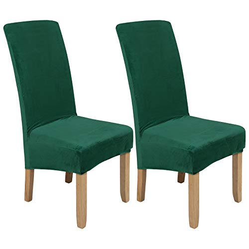Colorxy Large Velvet Spandex Chair Covers for Dining Room Set of 2, Soft Stretch Chair Protectors Slipcovers, Removable and Washable, Dark Green