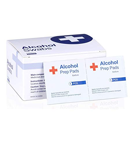 Alcohol Prep Pads, 75% Alcohol Cotton Slices, 100 Pcs Alcohol Gauze Pads Individually Wrapped Swap Pad Wet Wipe, 6 x 6cm/2.36in x 2.36in