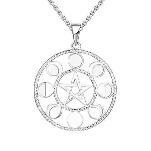 FJ Pentagram Halskette mit Mond Mondfinsternis, 925 Sterling Silber, Elegante Geschenkbox