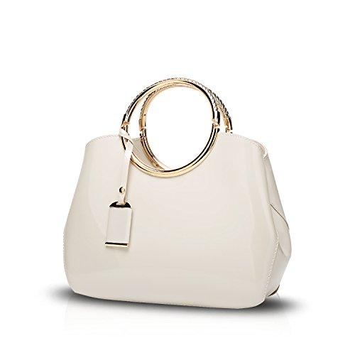 Tisdaini® Damenhandtaschen Mode Schultertaschen Lackleder Shopper Umhängetaschen Weiß