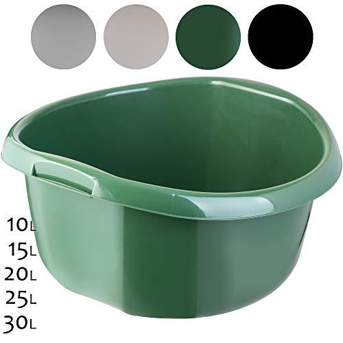 KADAX Runde Kunststoffschüssel. Becken tief und robust. Schüssel, Waschschüssel, Spülwanne Groß Eignet Sich hervorragend für das Badezimmer, den Waschraum, die Küche und das Haus (Dunkelgrün, 30L)