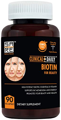 CLINICAL DAILY Biotin Beauty Supplement- Pure Vegan Pills for Hair, Beard, Skin and Nail Growth- Non GMO Sugar Free Vitamins Boost Energy and Support Metabolism- 10000mcg with Rice Powder, 90 Capsules