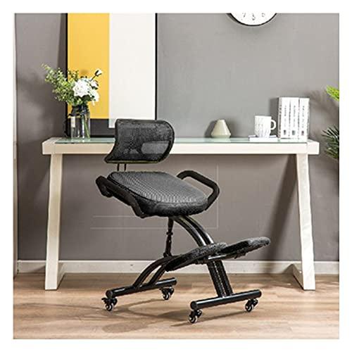 VIVIANSHOP Ergonomische stoel knielende stoel positieve houding stoel student leren stoel lift schrijven stoel thuis computer stoel zadel stoel zwart-A