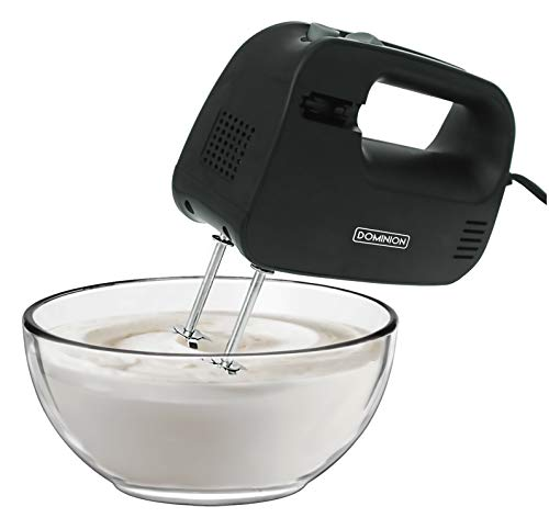 Dominion Electric Hand Mixer, 3 Mixing Speeds, Clever Built In Beater Storage, 2 Stainless Steel...