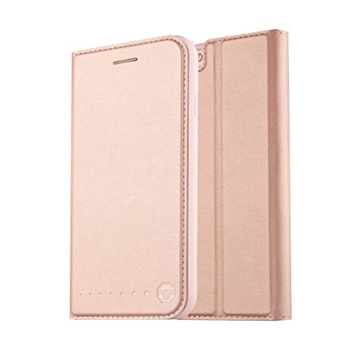 Nouske iPhone 6 6S 4.7 Zoll Stand Hülle Etui with Karte Halterung Leder Wallet Klapphülle Flip Book Hülle TPU Cover Bumper Tasche Ultra Slim,Rose Gold