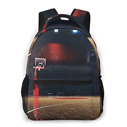 Lawenp Schulrucksäcke Bild der leeren Basketballplatz-Sportarena mit Holzbodendruck für jugendlich Mädchen Jungen 16-Zoll-Studententaschen Laptop Casual Rucksack