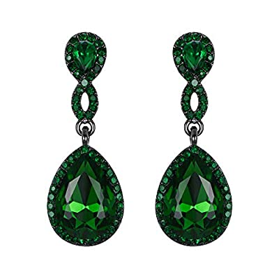 EVER FAITH Women's Rhinestone Crystal Elegant Wedding 8-Shaped Teardrop Pierced Dangle Earrings Clear