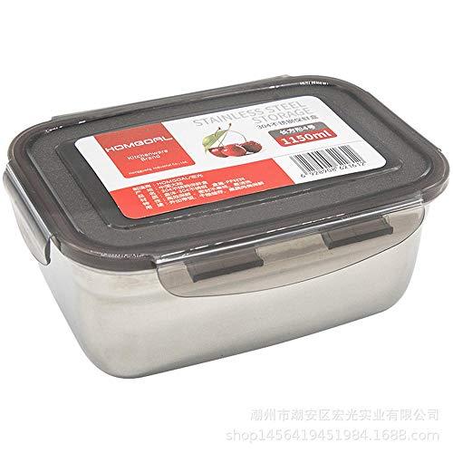 Jcloris Edelstahl Aufbewahrungsbox Lunchbox Kühlschrank Lebensmittel Kimchi Box Größe 9 Spezifikationen Rechteckige Runde Form-1150 Ml_Einschichtig