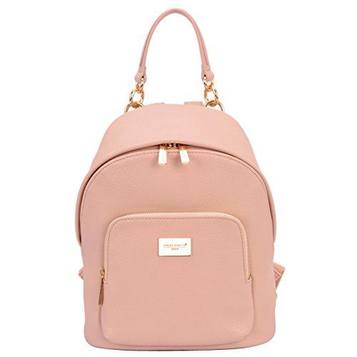 David Jones - Damen Kleine Rucksack Backpack - Frauen Weiches PU Leder Daypack - Casual City Mode Tagerucksack Schultasche Schulranzen Schulrucksack - Damenrucksack Städt Mädchen Fashion - Pink Rosa