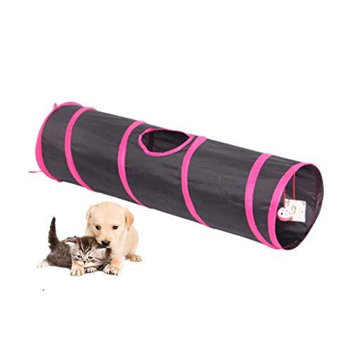 Faltbares Haustier Katzentunnelspielzeug, Katzenkaninchen Indoor Outdoor Hängende Balltrainingsspielzeug Spielen Sie Tunnelröhren Katzenzubehör für Katze, Kaninchen, kleine Hunde, Pink