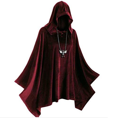 Monllack Capa de Sombrero de Bruja, Juego de Roles Disfraz de Escenario de Halloween Brujas Vampiros Sombrero de Bruja Medieval Cape Corner Traje de Cosplay gtico renacentista (Rojo, M)