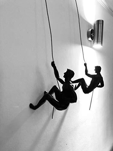 Haute Collage Duo de Rappel de Escalada en Bronce Adornos Colgantes Figuras Conjunto de Dos escaladores Wall-Art Colgante de Pared Hombre con Cable de Cuerda