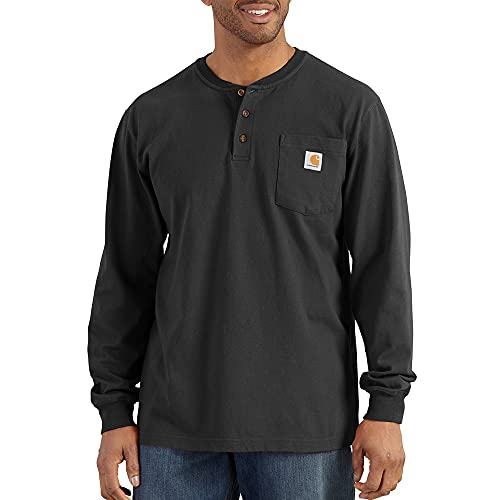 Carhartt Men's Workwear Pocket Henley Shirt (Regular and Big & Tall Sizes), Black, 2X-Large/Tall