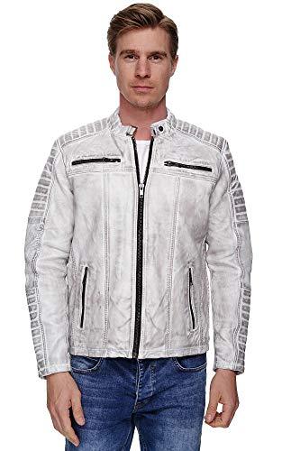 Elara Uomo Giacca in Vera Pelle Biker Look Chunkyrayan 70015 Antik-Grey-48 (L)